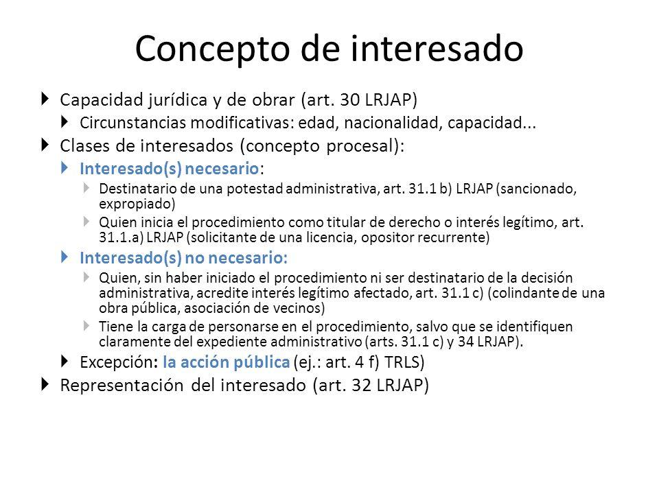 Concepto de interesado Capacidad jurídica y de obrar (art. 30 LRJAP) Circunstancias modificativas: edad, nacionalidad, capacidad... Clases de interesa