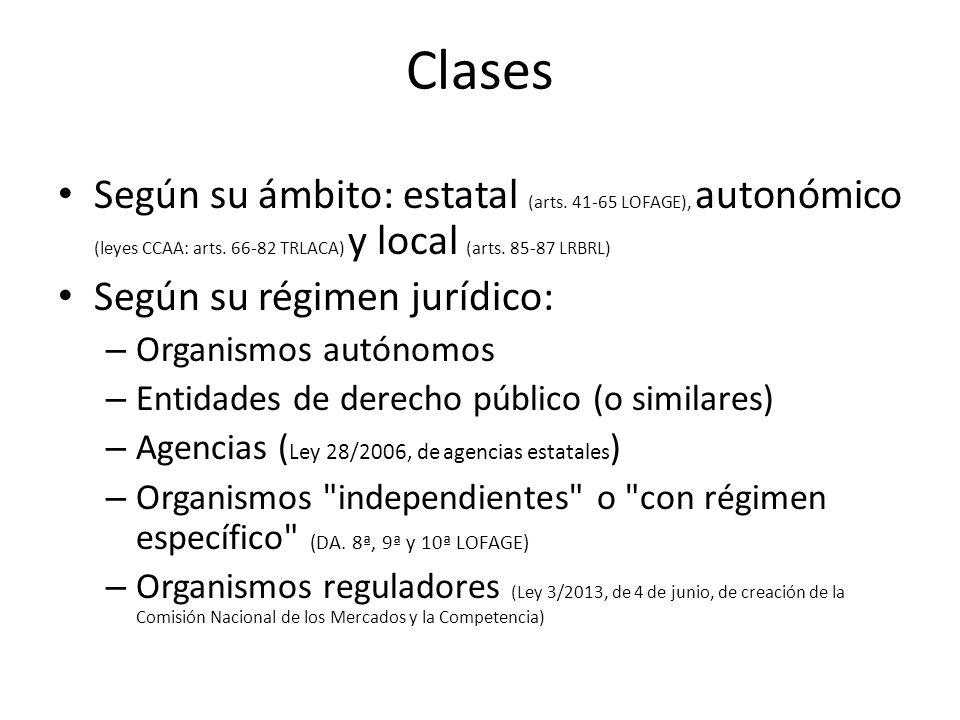 Clases Según su ámbito: estatal (arts. 41-65 LOFAGE), autonómico (leyes CCAA: arts. 66-82 TRLACA) y local (arts. 85-87 LRBRL) Según su régimen jurídic