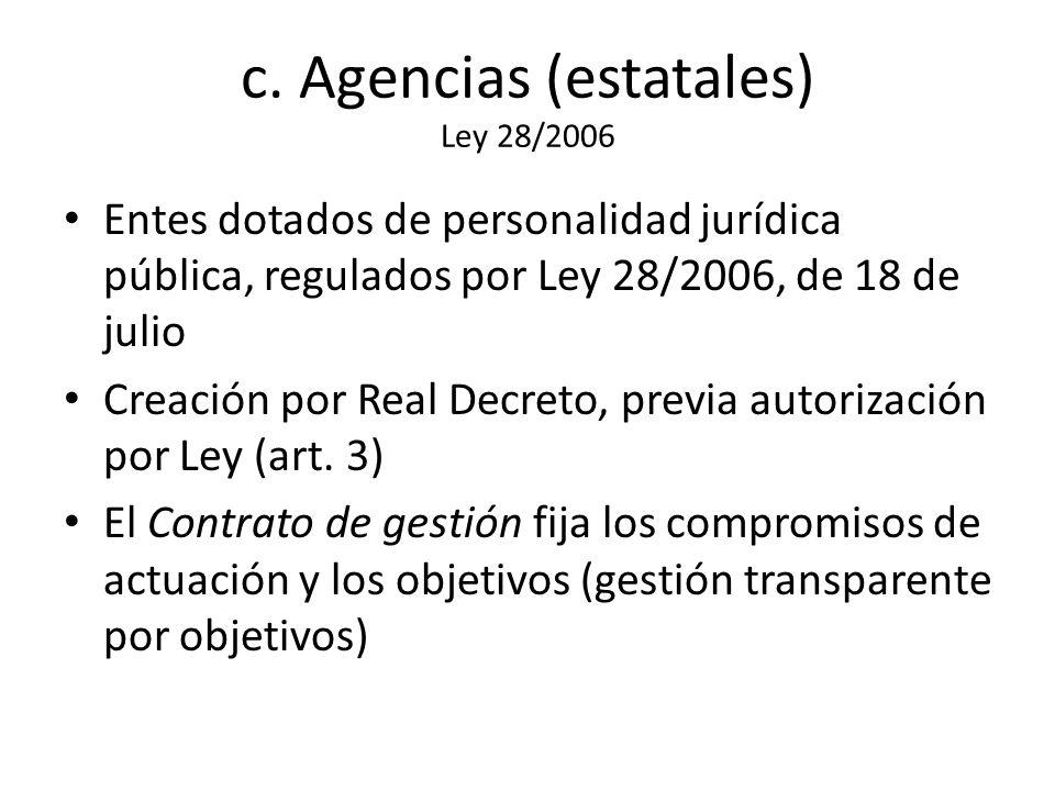 c. Agencias (estatales) Ley 28/2006 Entes dotados de personalidad jurídica pública, regulados por Ley 28/2006, de 18 de julio Creación por Real Decret