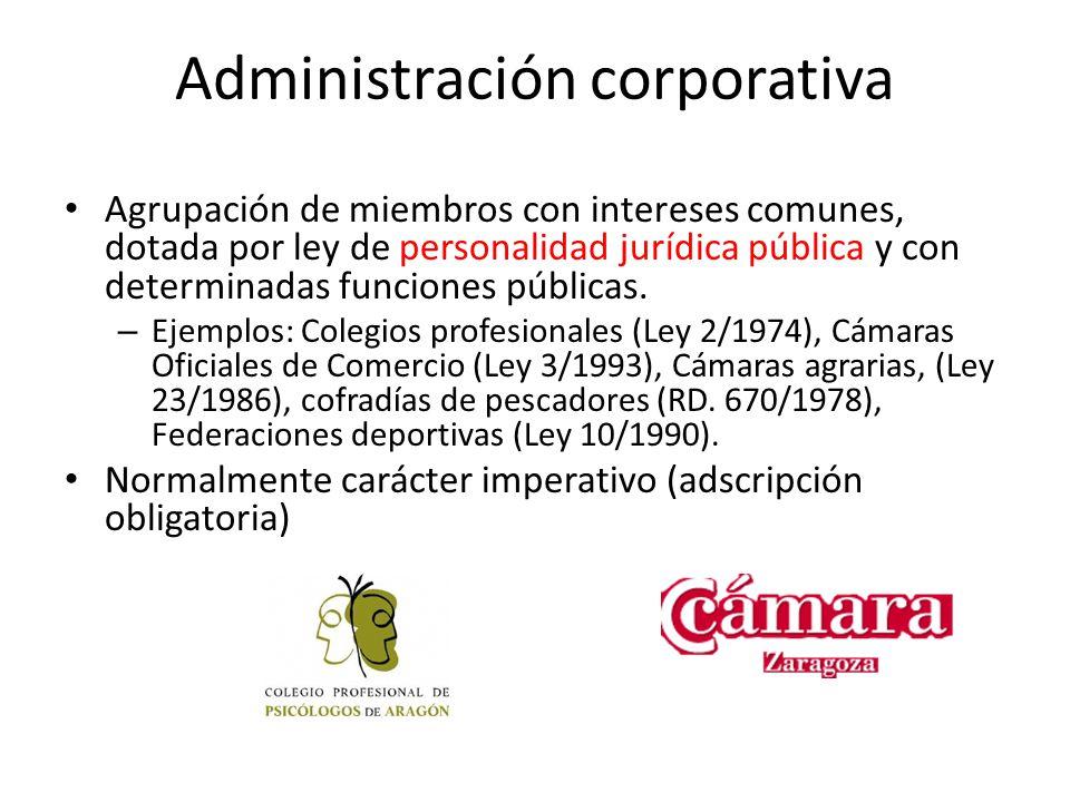 Administración corporativa Agrupación de miembros con intereses comunes, dotada por ley de personalidad jurídica pública y con determinadas funciones