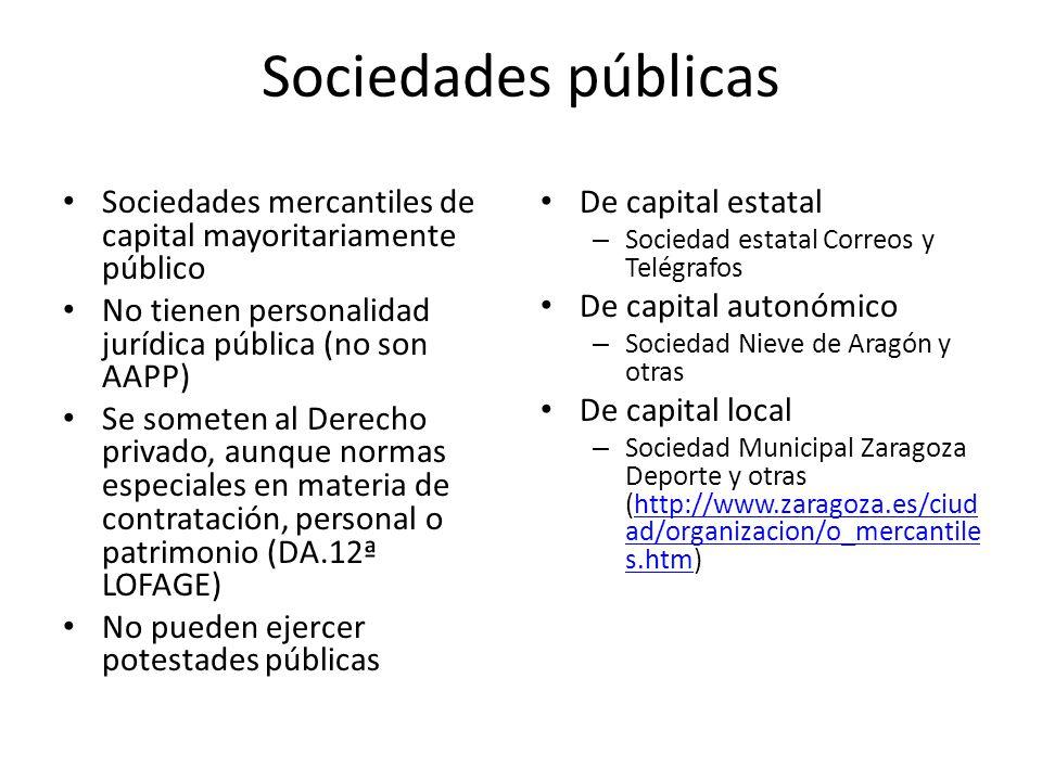Sociedades públicas Sociedades mercantiles de capital mayoritariamente público No tienen personalidad jurídica pública (no son AAPP) Se someten al Der