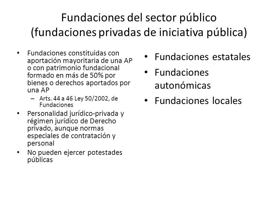 Fundaciones del sector público (fundaciones privadas de iniciativa pública) Fundaciones constituidas con aportación mayoritaria de una AP o con patrim