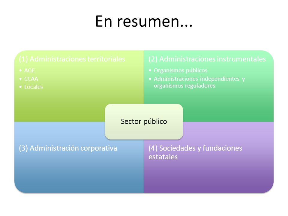 En resumen... (1) Administraciones territoriales AGE CCAA Locales (2) Administraciones instrumentales Organismos públicos Administraciones independien