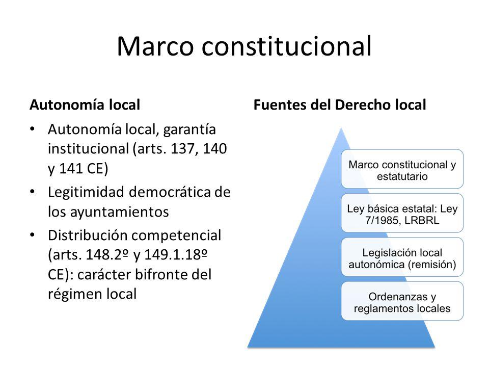 Marco constitucional Autonomía localFuentes del Derecho local Autonomía local, garantía institucional (arts. 137, 140 y 141 CE) Legitimidad democrátic