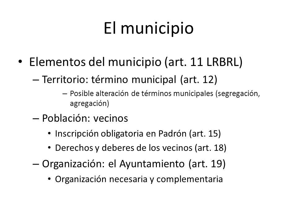 Elementos del municipio (art. 11 LRBRL) – Territorio: término municipal (art. 12) – Posible alteración de términos municipales (segregación, agregació