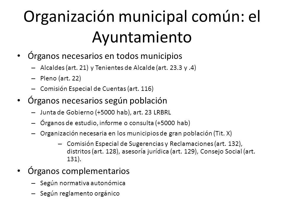 Organización municipal común: el Ayuntamiento Órganos necesarios en todos municipios – Alcaldes (art. 21) y Tenientes de Alcalde (art. 23.3 y.4) – Ple