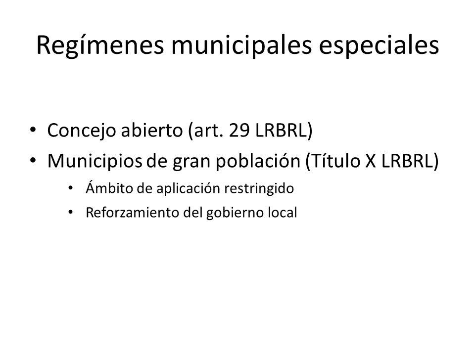 Regímenes municipales especiales Concejo abierto (art. 29 LRBRL) Municipios de gran población (Título X LRBRL) Ámbito de aplicación restringido Reforz