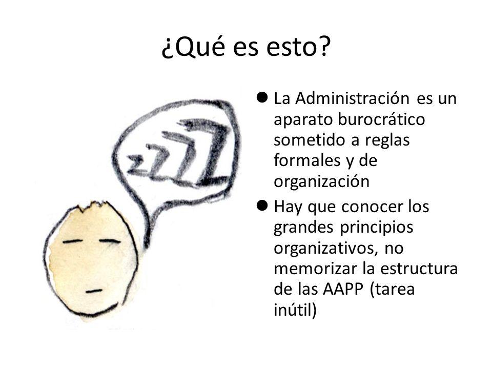 ¿Qué es esto? La Administración es un aparato burocrático sometido a reglas formales y de organización Hay que conocer los grandes principios organiza