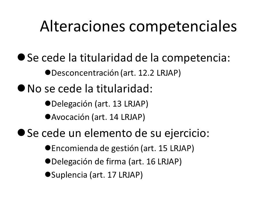 Alteraciones competenciales Se cede la titularidad de la competencia: Desconcentración (art. 12.2 LRJAP) No se cede la titularidad: Delegación (art. 1