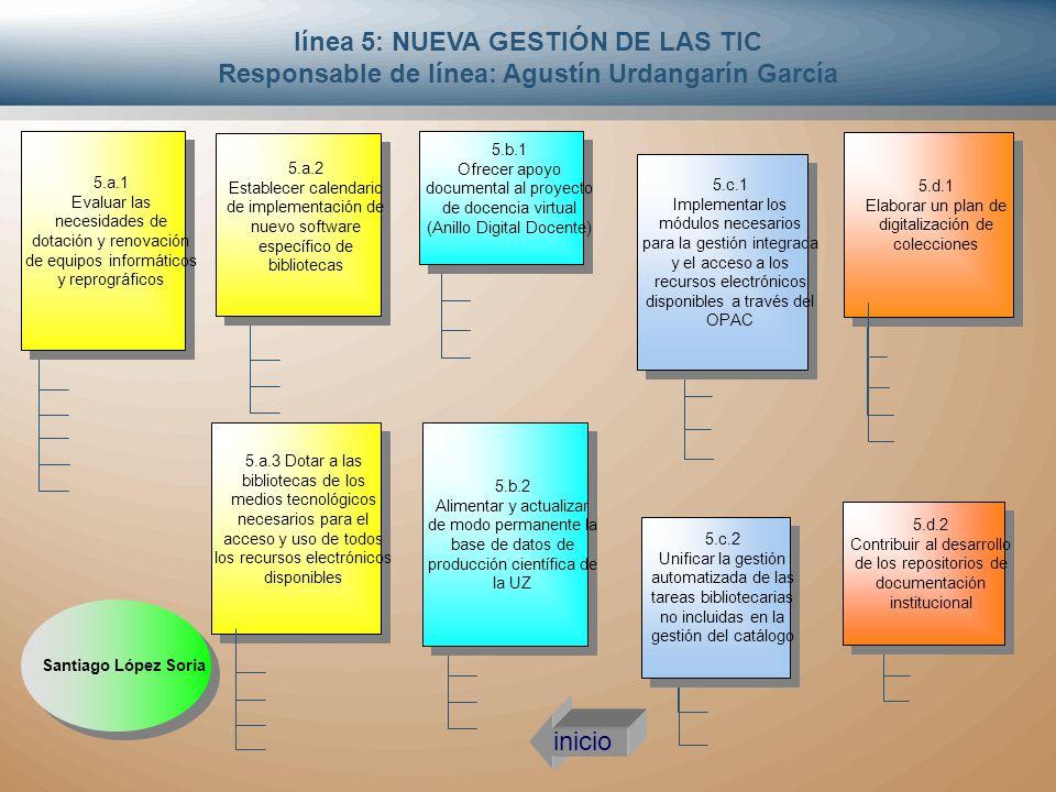 línea 5: NUEVA GESTIÓN DE LAS TIC Responsable de línea: Agustín Urdangarín García 5.a.3 Dotar a las bibliotecas de los medios tecnológicos necesarios