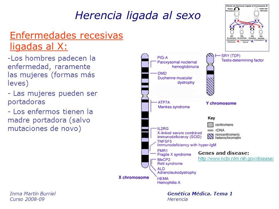 Herencia ligada al sexo Enfermedades recesivas ligadas al X: Genes and disease: http://www.ncbi.nlm.nih.gov/disease/ http://www.ncbi.nlm.nih.gov/disease/ -Los hombres padecen la enfermedad, raramente las mujeres (formas más leves) - Las mujeres pueden ser portadoras - Los enfermos tienen la madre portadora (salvo mutaciones de novo) Inma Martín Burriel Genética Médica.