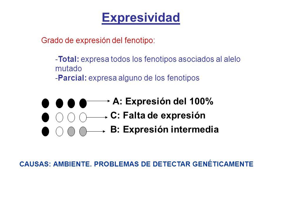 A: Expresión del 100% C: Falta de expresión B: Expresión intermedia CAUSAS: AMBIENTE. PROBLEMAS DE DETECTAR GENÉTICAMENTE Expresividad Grado de expres