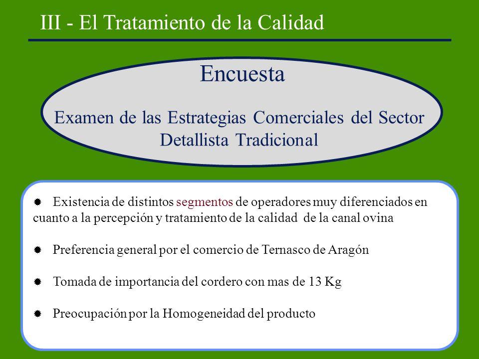 III - El Tratamiento de la Calidad Encuesta Examen de las Estrategias Comerciales del Sector Detallista Tradicional Existencia de distintos segmentos