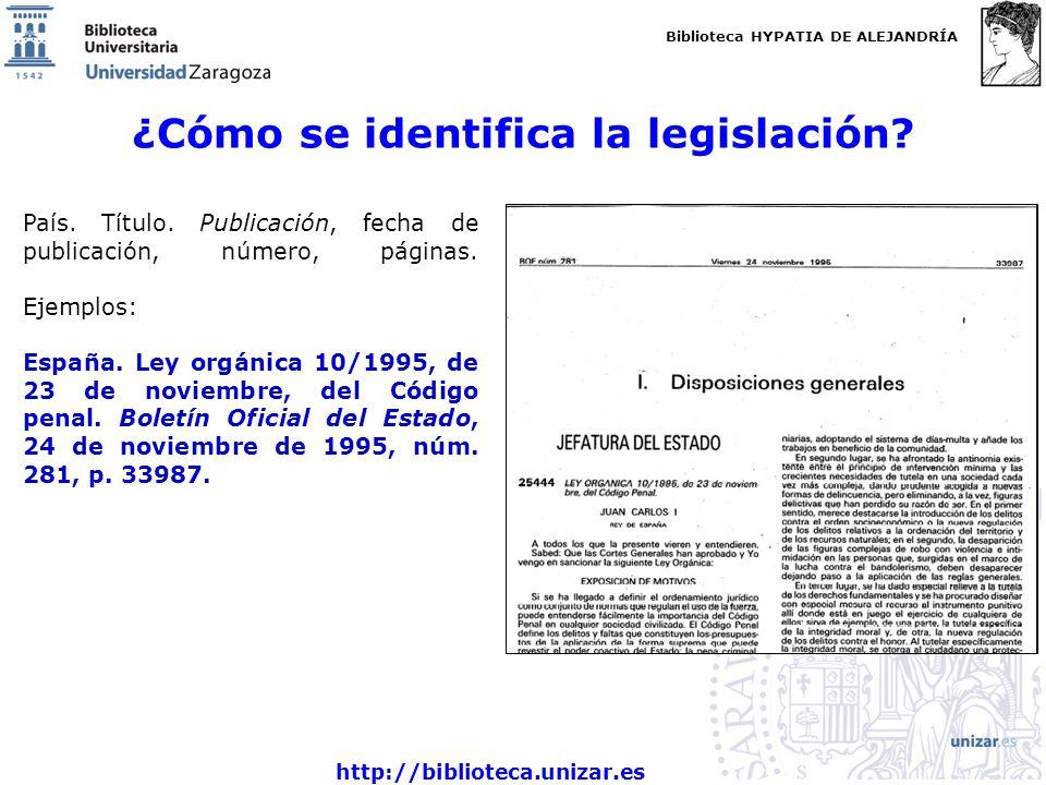 Biblioteca HYPATIA DE ALEJANDRÍA http://biblioteca.unizar.es ¿Cómo se identifica la legislación? País. Título. Publicación, fecha de publicación, núme
