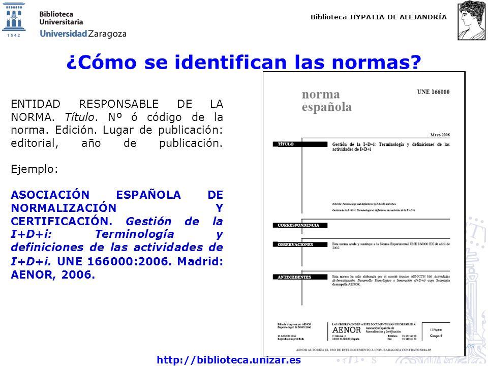 Biblioteca HYPATIA DE ALEJANDRÍA http://biblioteca.unizar.es ¿Cómo se identifican las normas? ENTIDAD RESPONSABLE DE LA NORMA. Título. Nº ó código de