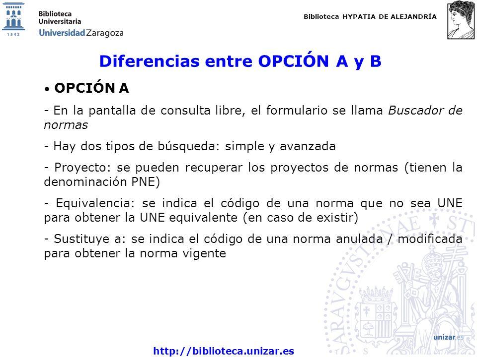 Biblioteca HYPATIA DE ALEJANDRÍA http://biblioteca.unizar.es Diferencias entre OPCIÓN A y B OPCIÓN A - En la pantalla de consulta libre, el formulario se llama Buscador de normas - Hay dos tipos de búsqueda: simple y avanzada - Proyecto: se pueden recuperar los proyectos de normas (tienen la denominación PNE) - Equivalencia: se indica el código de una norma que no sea UNE para obtener la UNE equivalente (en caso de existir) - Sustituye a: se indica el código de una norma anulada / modificada para obtener la norma vigente