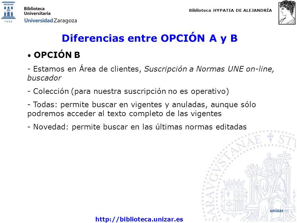 Biblioteca HYPATIA DE ALEJANDRÍA http://biblioteca.unizar.es Diferencias entre OPCIÓN A y B OPCIÓN B - Estamos en Área de clientes, Suscripción a Norm