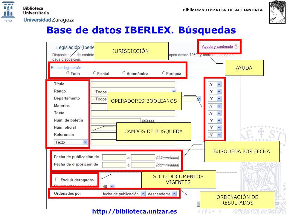 Biblioteca HYPATIA DE ALEJANDRÍA http://biblioteca.unizar.es Base de datos IBERLEX. Búsquedas JURISDICCIÓN CAMPOS DE BÚSQUEDA OPERADORES BOOLEANOS SÓL