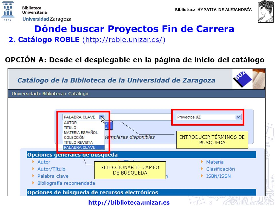 Biblioteca HYPATIA DE ALEJANDRÍA http://biblioteca.unizar.es Dónde buscar Proyectos Fin de Carrera 2.