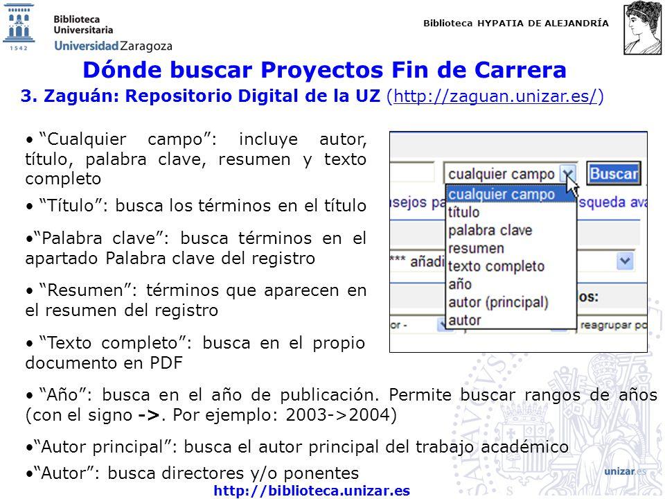 Biblioteca HYPATIA DE ALEJANDRÍA http://biblioteca.unizar.es Dónde buscar Proyectos Fin de Carrera 3.