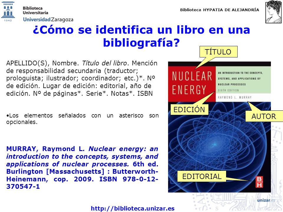 Biblioteca HYPATIA DE ALEJANDRÍA http://biblioteca.unizar.es ¿Cómo se identifica un libro en una bibliografía? APELLIDO(S), Nombre. Título del libro.