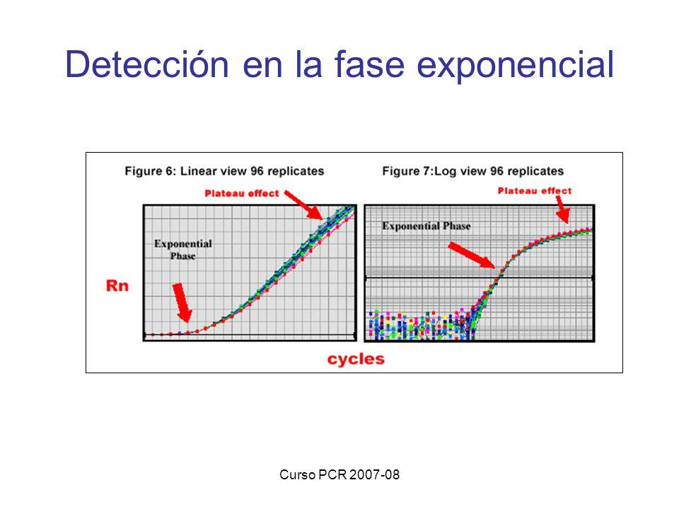 Curso PCR 2007-08 Detección en la fase exponencial