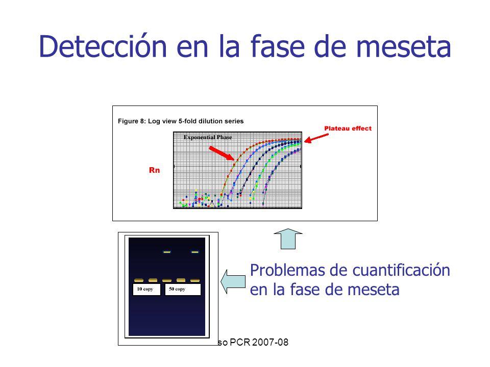 Curso PCR 2007-08 Detección en la fase de meseta Problemas de cuantificación en la fase de meseta