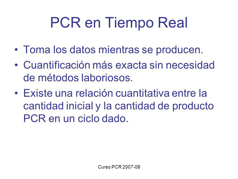 Curso PCR 2007-08 PCR en Tiempo Real Toma los datos mientras se producen. Cuantificación más exacta sin necesidad de métodos laboriosos. Existe una re