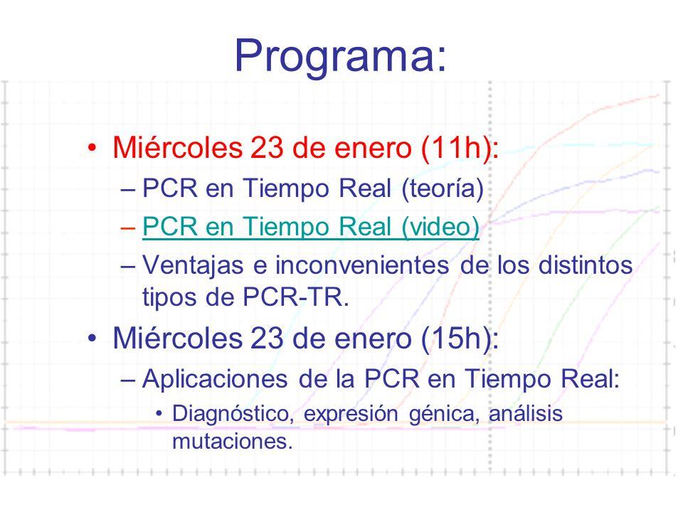 Curso PCR 2007-08 Programa: Miércoles 23 de enero (11h): –PCR en Tiempo Real (teoría) –PCR en Tiempo Real (video)PCR en Tiempo Real (video) –Ventajas