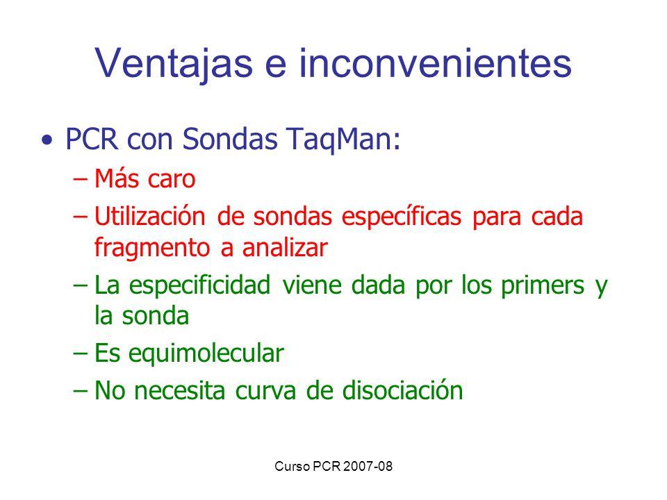 Curso PCR 2007-08 Ventajas e inconvenientes PCR con Sondas TaqMan: –Más caro –Utilización de sondas específicas para cada fragmento a analizar –La esp