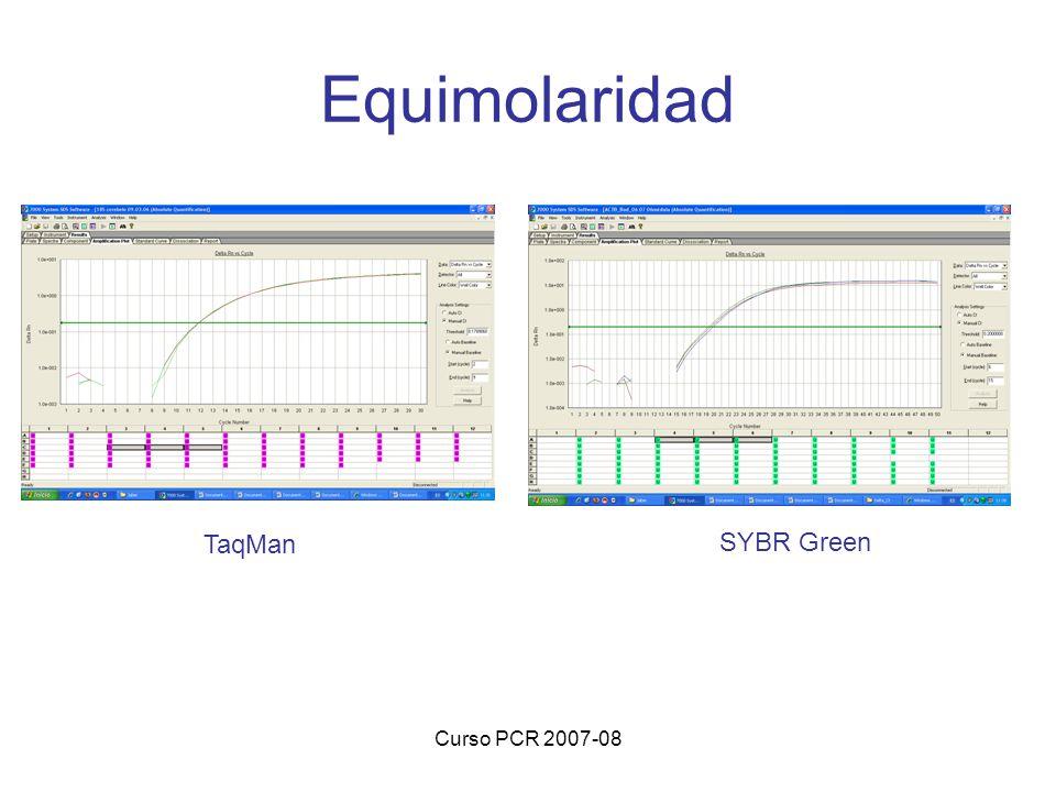 Curso PCR 2007-08 Equimolaridad TaqMan SYBR Green
