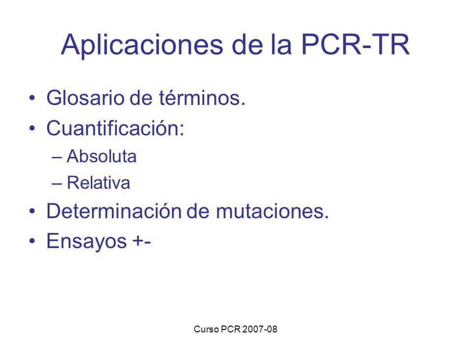 Curso PCR 2007-08 Aplicaciones de la PCR-TR Glosario de términos. Cuantificación: –Absoluta –Relativa Determinación de mutaciones. Ensayos +-