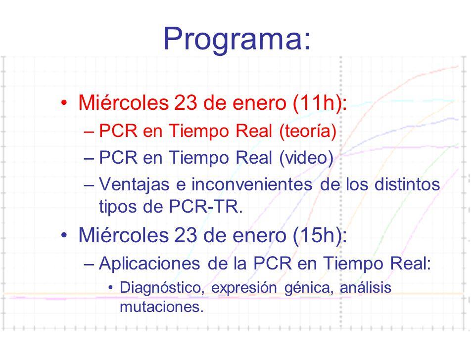 Curso PCR 2007-08 Programa: Miércoles 23 de enero (11h): –PCR en Tiempo Real (teoría) –PCR en Tiempo Real (video) –Ventajas e inconvenientes de los di