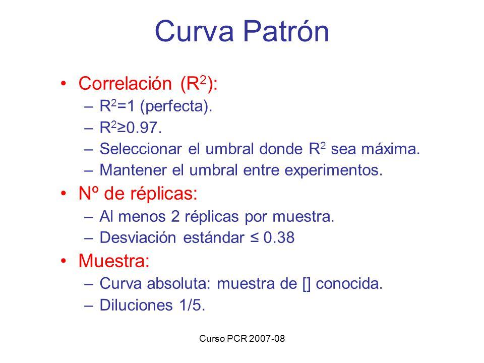Curso PCR 2007-08 Correlación (R 2 ): –R 2 =1 (perfecta). –R 2 0.97. –Seleccionar el umbral donde R 2 sea máxima. –Mantener el umbral entre experiment