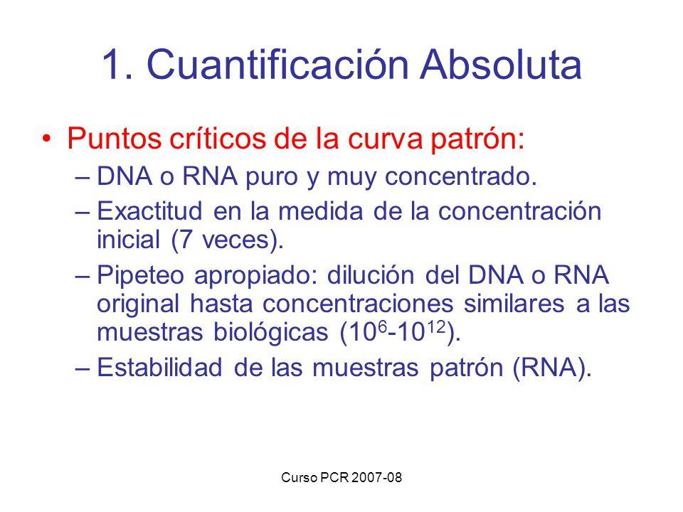 Curso PCR 2007-08 1. Cuantificación Absoluta Puntos críticos de la curva patrón: –DNA o RNA puro y muy concentrado. –Exactitud en la medida de la conc