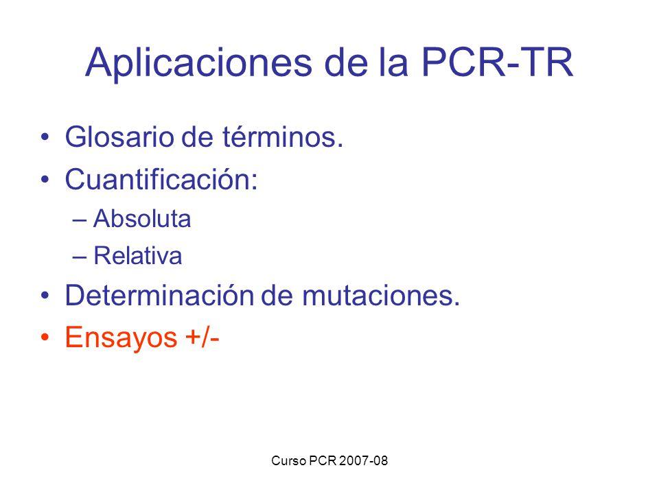 Curso PCR 2007-08 Aplicaciones de la PCR-TR Glosario de términos. Cuantificación: –Absoluta –Relativa Determinación de mutaciones. Ensayos +/-