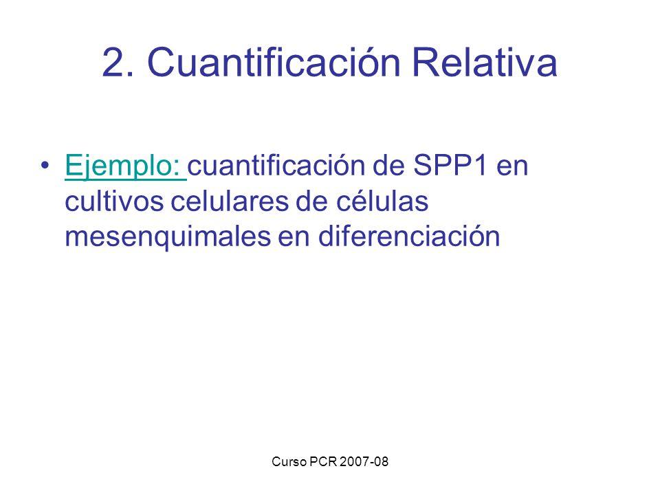 Curso PCR 2007-08 Ejemplo: cuantificación de SPP1 en cultivos celulares de células mesenquimales en diferenciaciónEjemplo: 2. Cuantificación Relativa