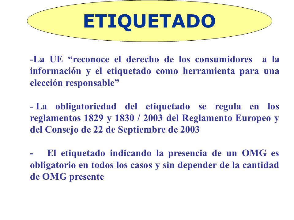 ETIQUETADO -La UE reconoce el derecho de los consumidores a la información y el etiquetado como herramienta para una elección responsable - La obligat