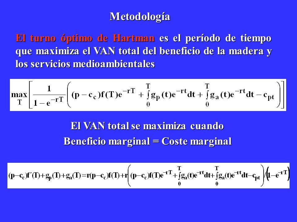 Metodología El turno óptimo de Hartman es el período de tiempo que maximiza el VAN total del beneficio de la madera y los servicios medioambientales E