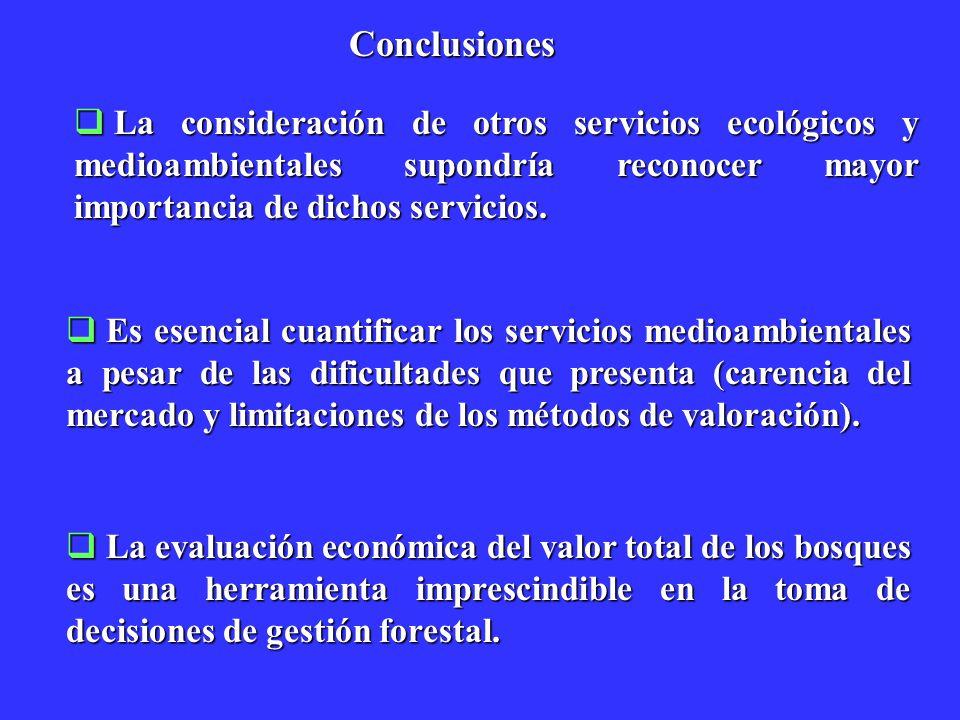 Conclusiones La consideración de otros servicios ecológicos y medioambientales supondría reconocer mayor importancia de dichos servicios. La considera