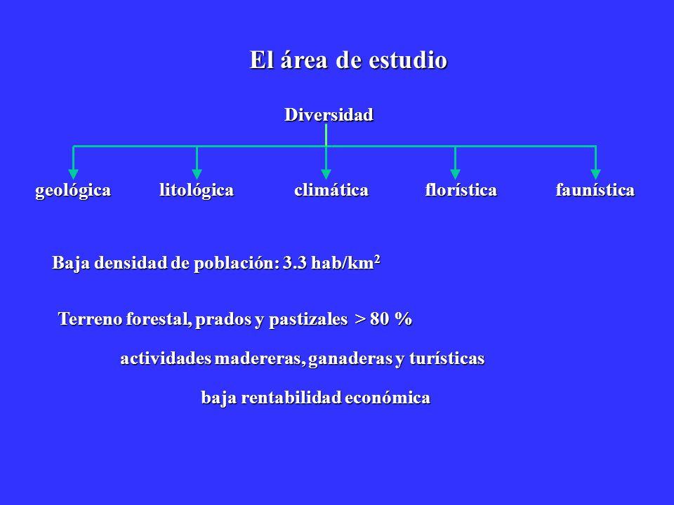 El área de estudio Diversidad florísticafaunística geológicalitológicaclimática Baja densidad de población: 3.3 hab/km 2 Terreno forestal, prados y pa