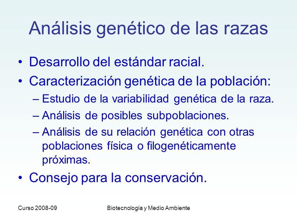 Curso 2008-09Biotecnología y Medio Ambiente Análisis genético de las razas Desarrollo del estándar racial. Caracterización genética de la población: –