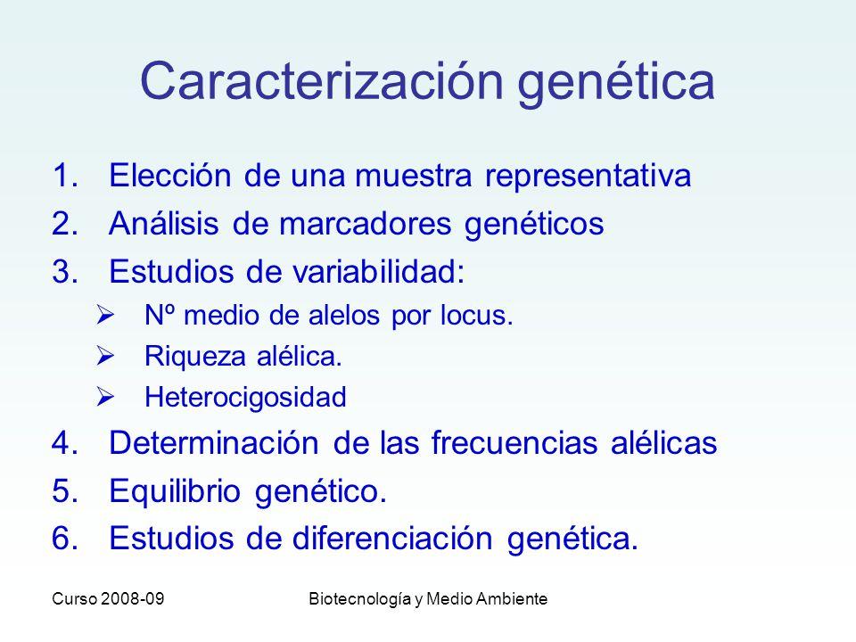 Curso 2008-09Biotecnología y Medio Ambiente Caracterización genética 1.Elección de una muestra representativa 2.Análisis de marcadores genéticos 3.Est