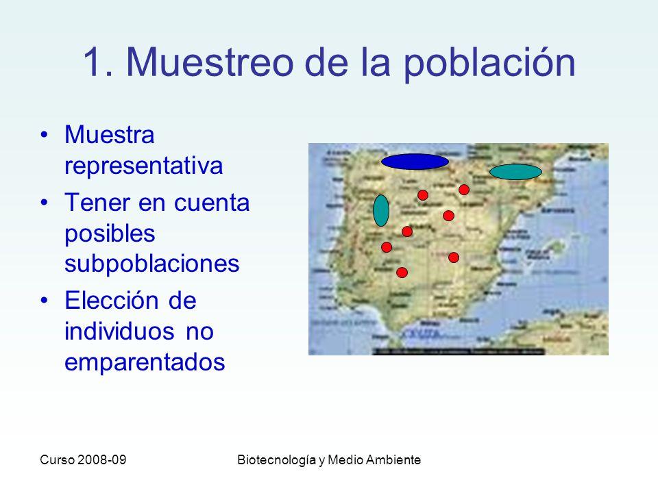 Curso 2008-09Biotecnología y Medio Ambiente 1. Muestreo de la población Muestra representativa Tener en cuenta posibles subpoblaciones Elección de ind