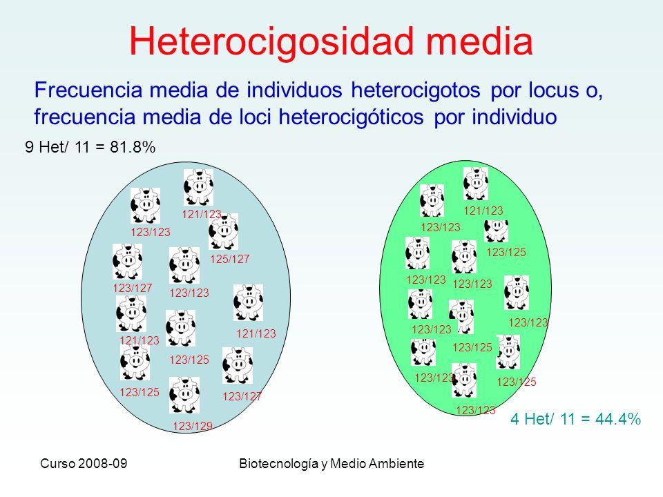 Curso 2008-09Biotecnología y Medio Ambiente Heterocigosidad media 123/123 121/123 125/127 123/123 123/127 121/123 123/125 121/123 123/127 123/129 123/