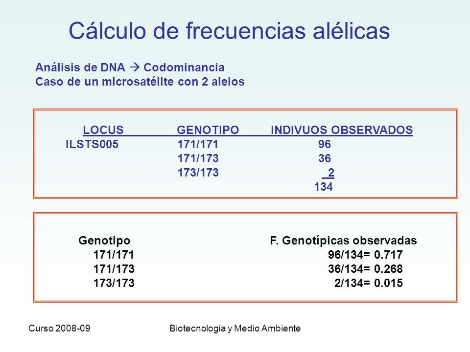Curso 2008-09Biotecnología y Medio Ambiente Cálculo de frecuencias alélicas Genotipo F. Genotípicas observadas 171/17196/134= 0.717 171/17336/134= 0.2