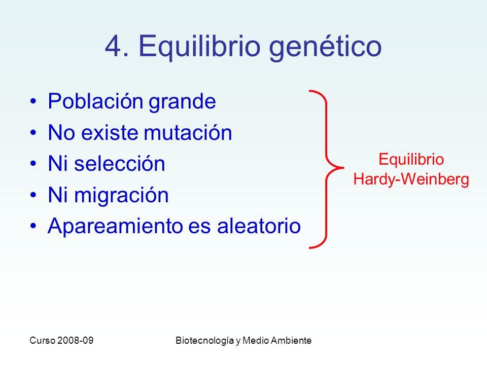 Curso 2008-09Biotecnología y Medio Ambiente 4. Equilibrio genético Población grande No existe mutación Ni selección Ni migración Apareamiento es aleat