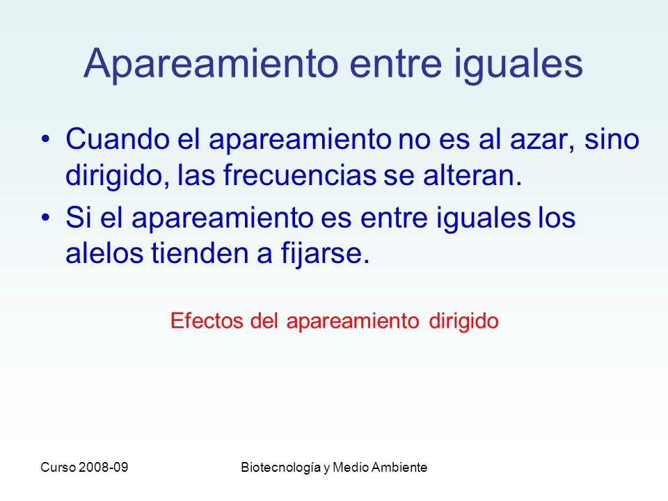 Curso 2008-09Biotecnología y Medio Ambiente Apareamiento entre iguales Cuando el apareamiento no es al azar, sino dirigido, las frecuencias se alteran