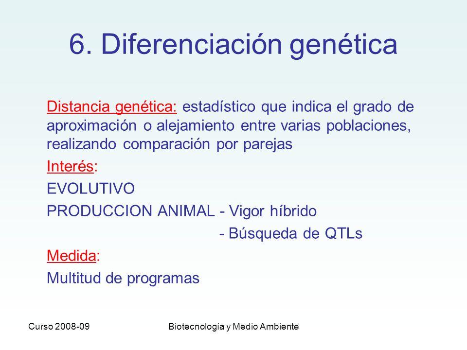 Curso 2008-09Biotecnología y Medio Ambiente Distancia genética: estadístico que indica el grado de aproximación o alejamiento entre varias poblaciones