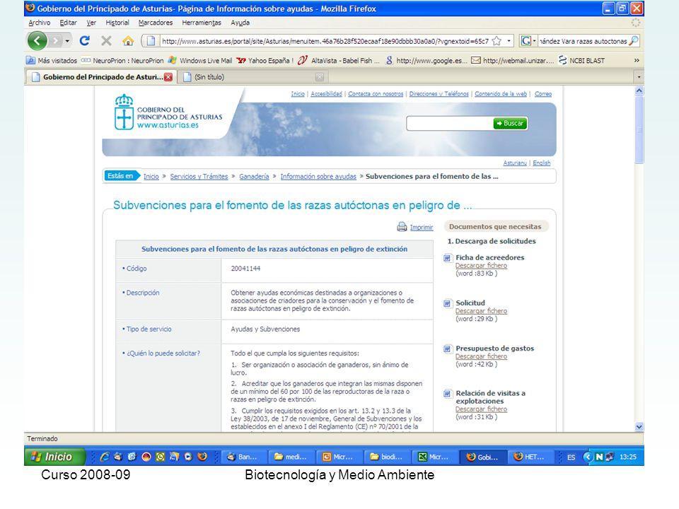 Curso 2008-09Biotecnología y Medio Ambiente 2.